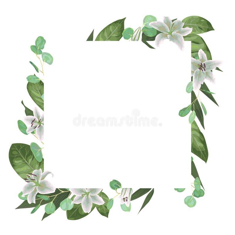 Lämnar den blom- designen för vektorkortet med den gröna vattenfärgen, örter, e stock illustrationer