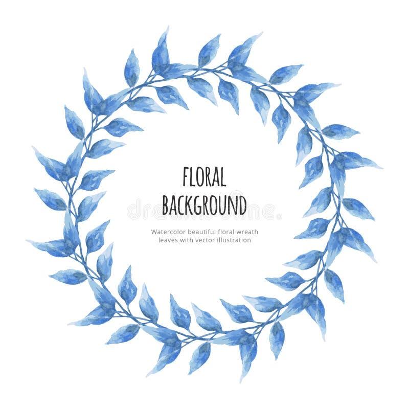 L?mnar den h?rliga blom- kransen f?r vattenf?rgen med vektorillustrationen royaltyfri illustrationer