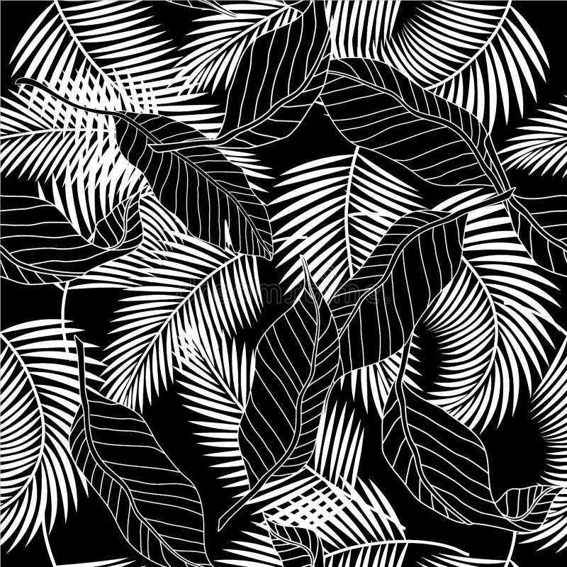 Lämnar den svartvita tropiska palmträdet för sommar sömlöst smattrande vektor illustrationer