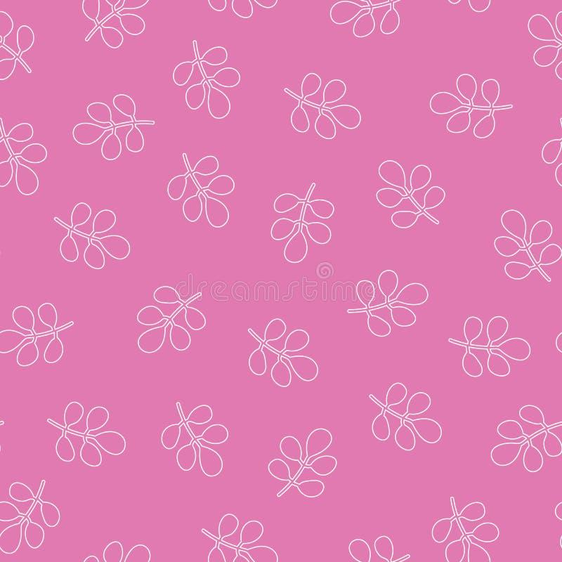 Lämnar den tropiska vektorrosa färgen för vektorn den sömlösa modellen rosa bakgrund Exotisk tapet, sömlös modell för gulliga sid royaltyfri illustrationer