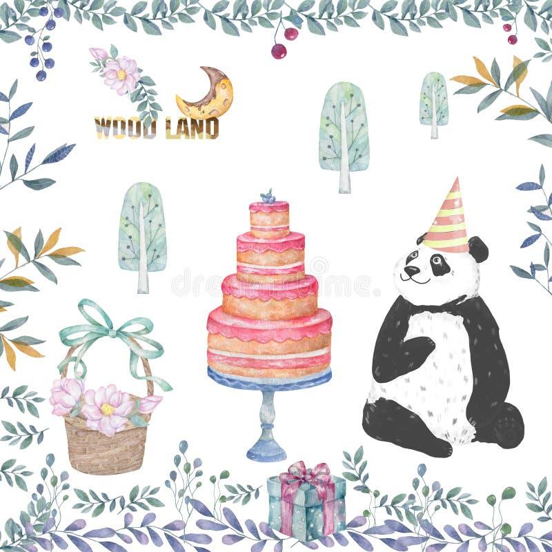 Lämnar det smakliga kortet för den gulliga pandatecknade filmen, kakan, träkorgen och blom- skönhetblommor illustrationen för par vektor illustrationer
