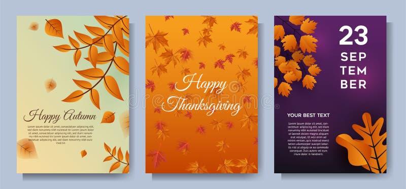 Lämnar det speciala erbjudandet för hösten försäljningsbaner eller partiinbjudanbakgrund vektor illustrationer