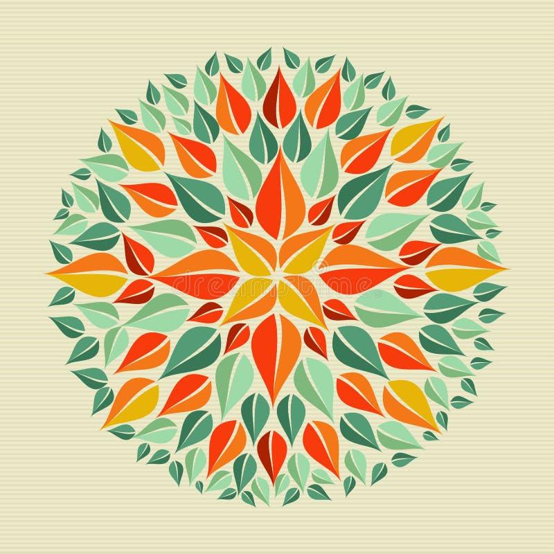 Lämnar yogamandalaen stock illustrationer