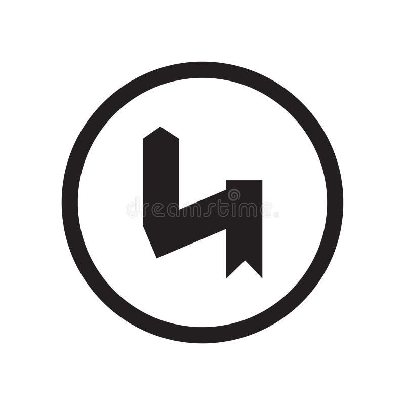 Lämnat omvänt tecken och symbol för kurvsymbolsvektor som isoleras på vit bakgrund, vänstert omvänt kurvlogobegrepp stock illustrationer
