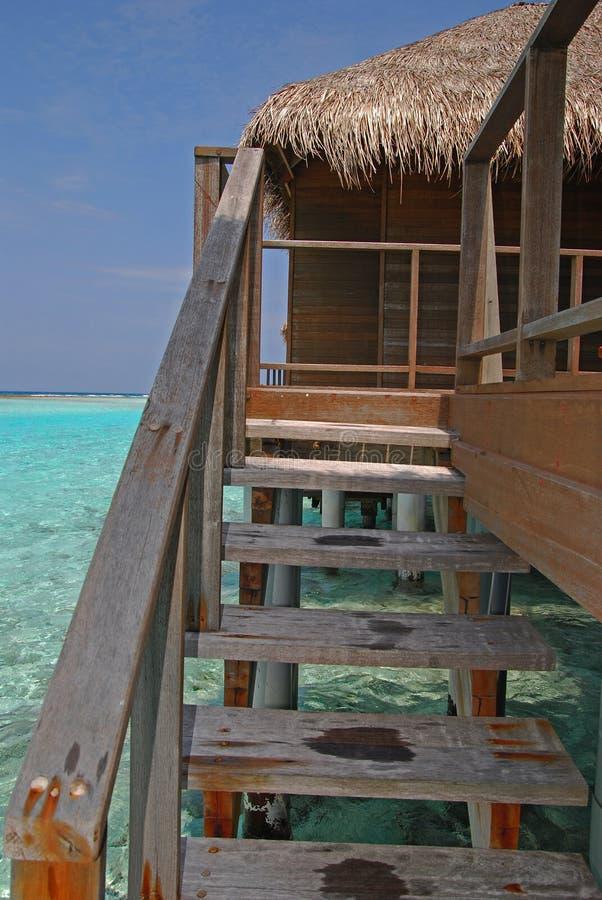 Lämpligt rikta tillträde till din privata Overwater villa royaltyfri foto