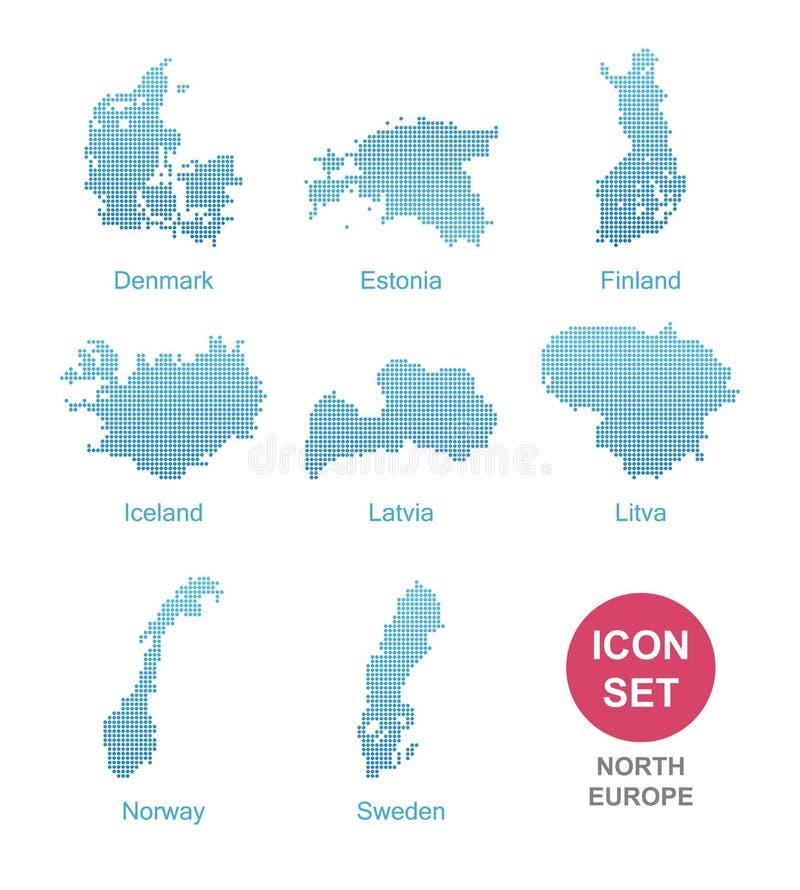 Län av norr Europa royaltyfri illustrationer
