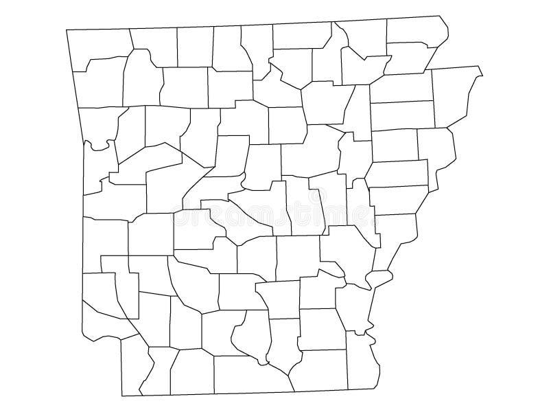 Län kartlägger av USA-stat av Arkansas vektor illustrationer