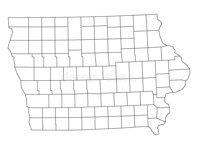 Län kartlägger av USA-stat av Iowa vektor illustrationer