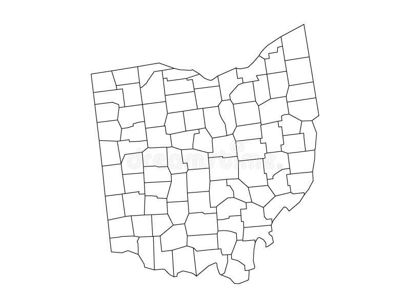 Län kartlägger av USA-stat av Ohio vektor illustrationer