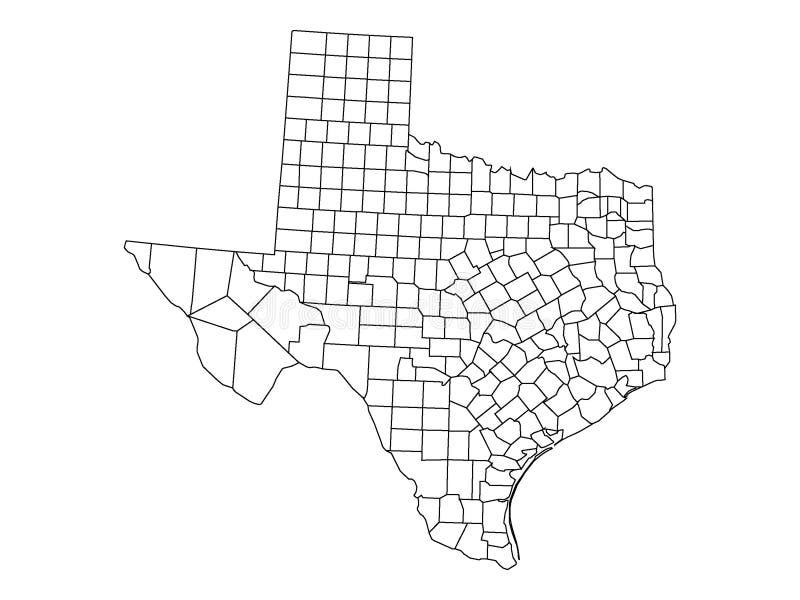 Län kartlägger av USA-stat av Texas royaltyfri illustrationer