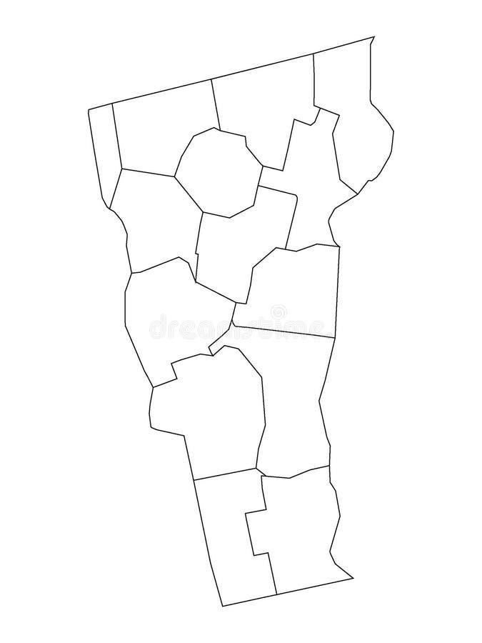 Län kartlägger av USA-stat av Vermont stock illustrationer