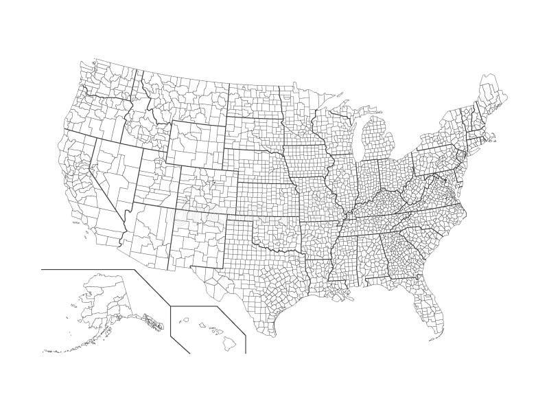 Län kartlägger av USA royaltyfri bild