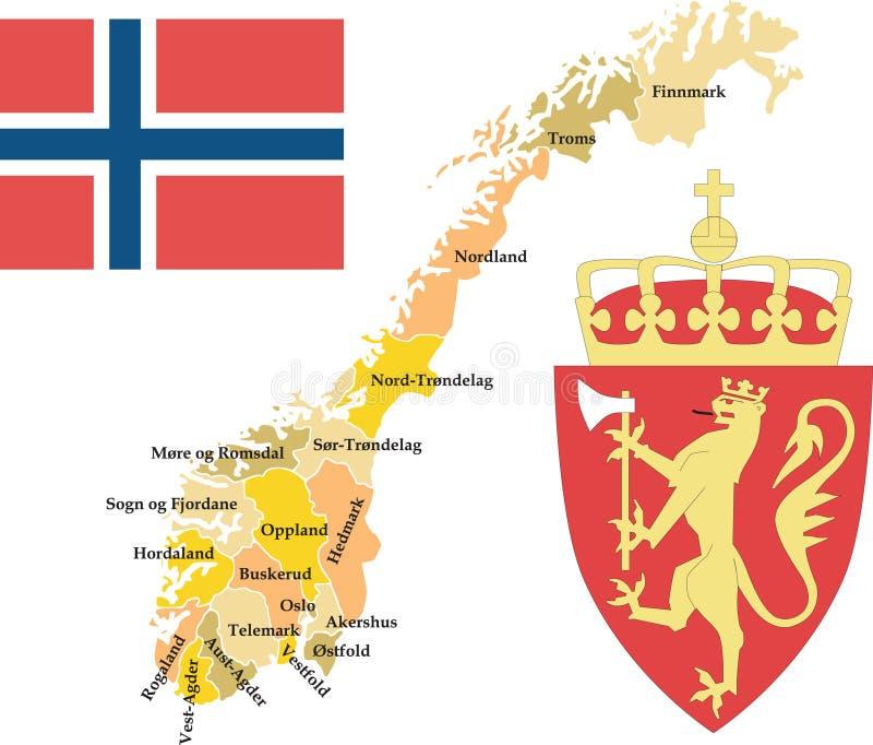 län norway royaltyfri illustrationer