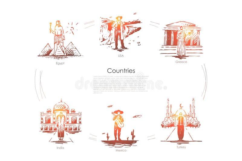 L?nder - Egypten, Grekland, USA, upps?ttning f?r Turkiet, Mexico, Indien vektorbegrepp stock illustrationer