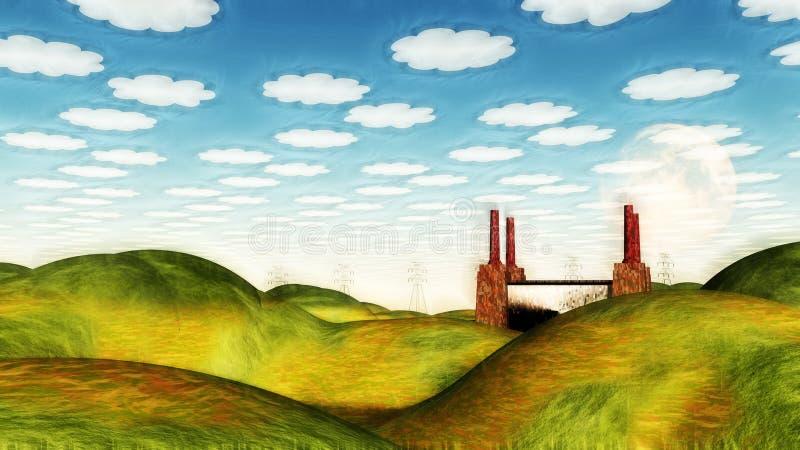 Ländlich idyllisch Landschaft mit Fabrik lizenzfreie abbildung