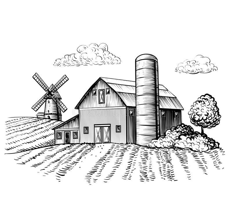 Ländliche Landschaft, Bauernhofscheune und Windmühlenskizze vektor abbildung