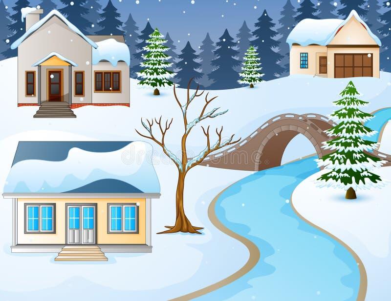 Ländliche Landschaft des Karikaturwinters mit Häusern und Steinbrücke über Fluss lizenzfreie abbildung