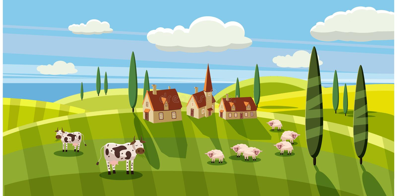 Ländliche Landschaft des reizenden Landes, weiden lassendes Kuhschaf, Bauernhof, Blumen, Weide, Karikaturart, Vektorillustration stock abbildung