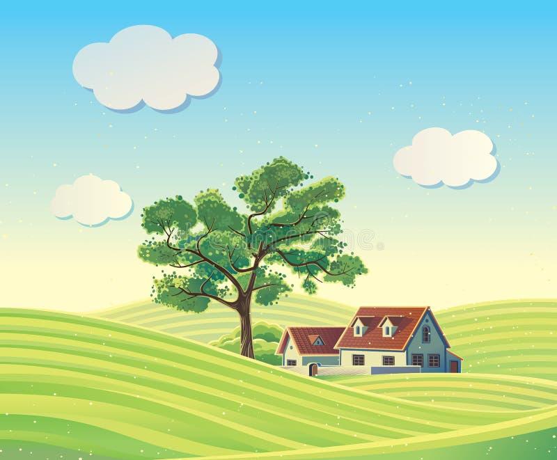 Ländliche Landschaft des Vektors mit den Häusern vektor abbildung