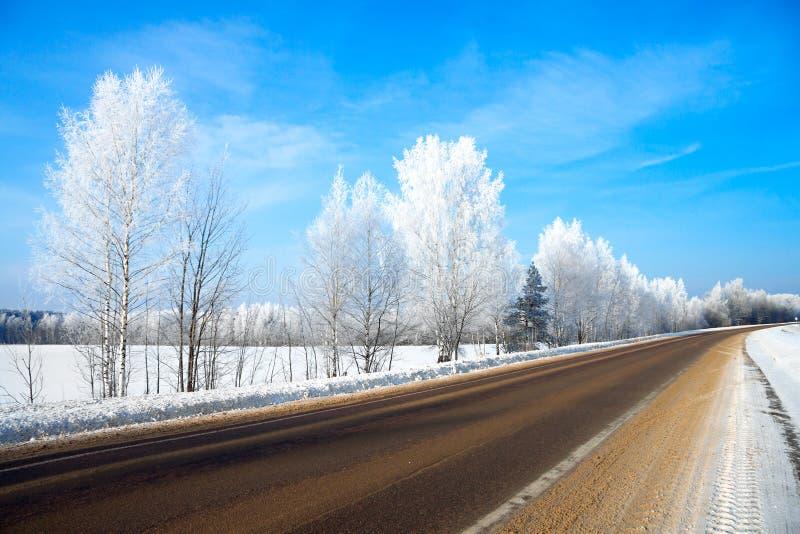 Ländliche Landschaft des Winters mit der Straße der Wald und die blaue SK stockbild