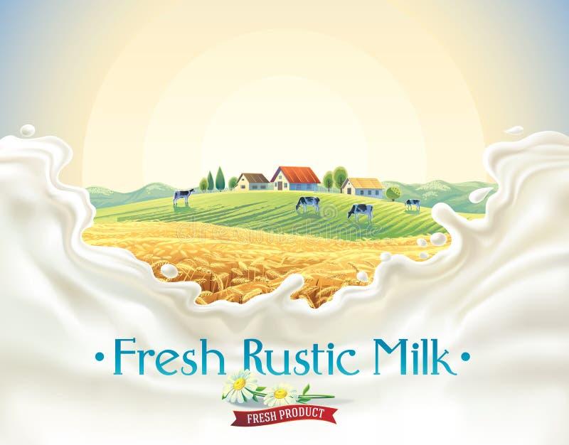 Ländliche Landschaft mit Rahmen spritzt von der Milch stock abbildung