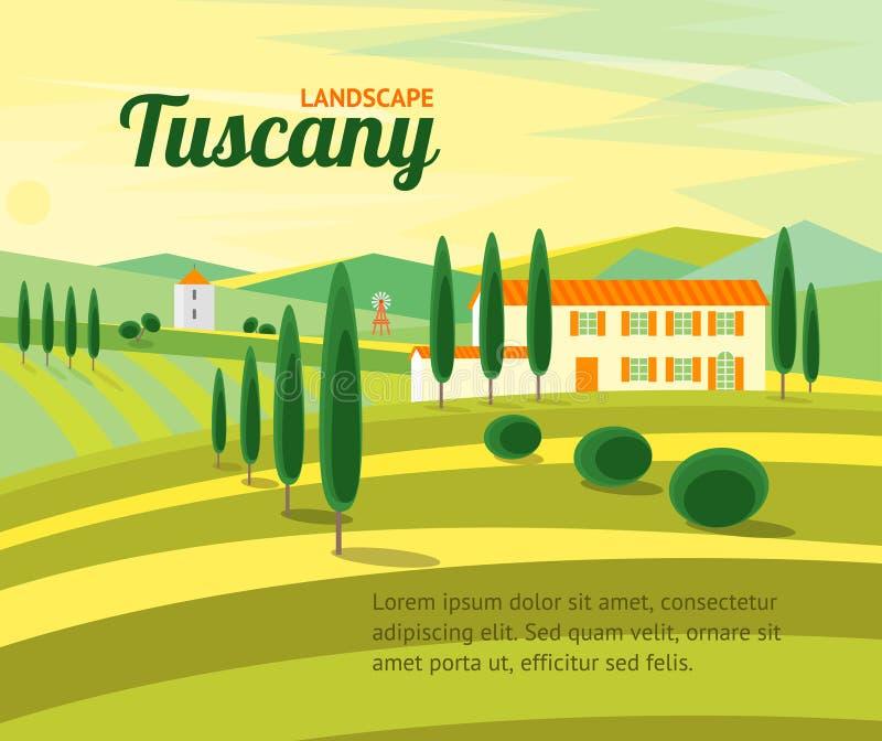 Ländliche Landschaft Toskana mit Haus-Fahne Vektor lizenzfreie abbildung