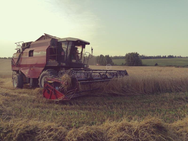 Ländliche Landschaft und Erntemaschine stockfotos