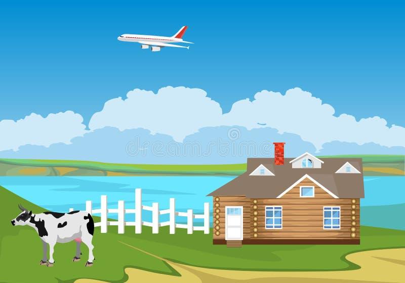 Ländliche landwirtschaftliche Szene, Kuh, Vektorillustration stock abbildung