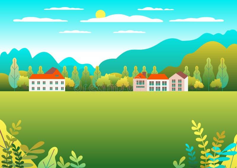 Ländliche Tal Bauernhoflandschaft Dorflandschaft mit Ranch im flachen Artentwurf Landschaft mit Hausbauernhoffamilie, Scheune, Ge stock abbildung