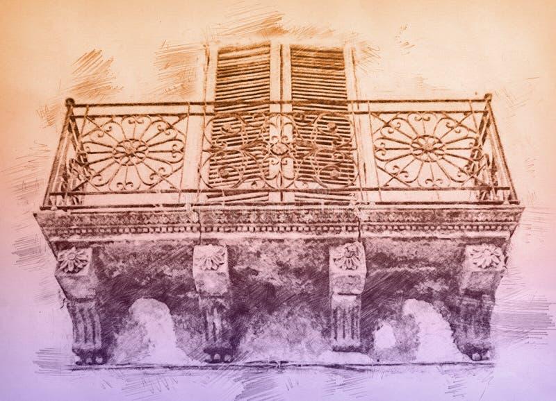 Ländlicher Balkon auf Sizilien Farbbleistiftskizze stockfoto