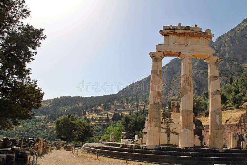 Ländlicher Grieche Delphi Temple stockbild