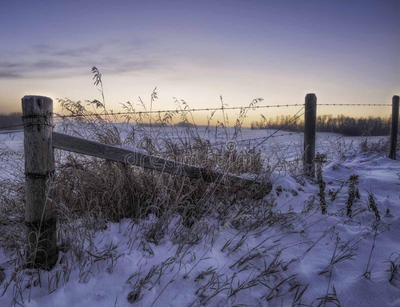 Ländlicher winterscape Sonnenaufgang lizenzfreies stockfoto