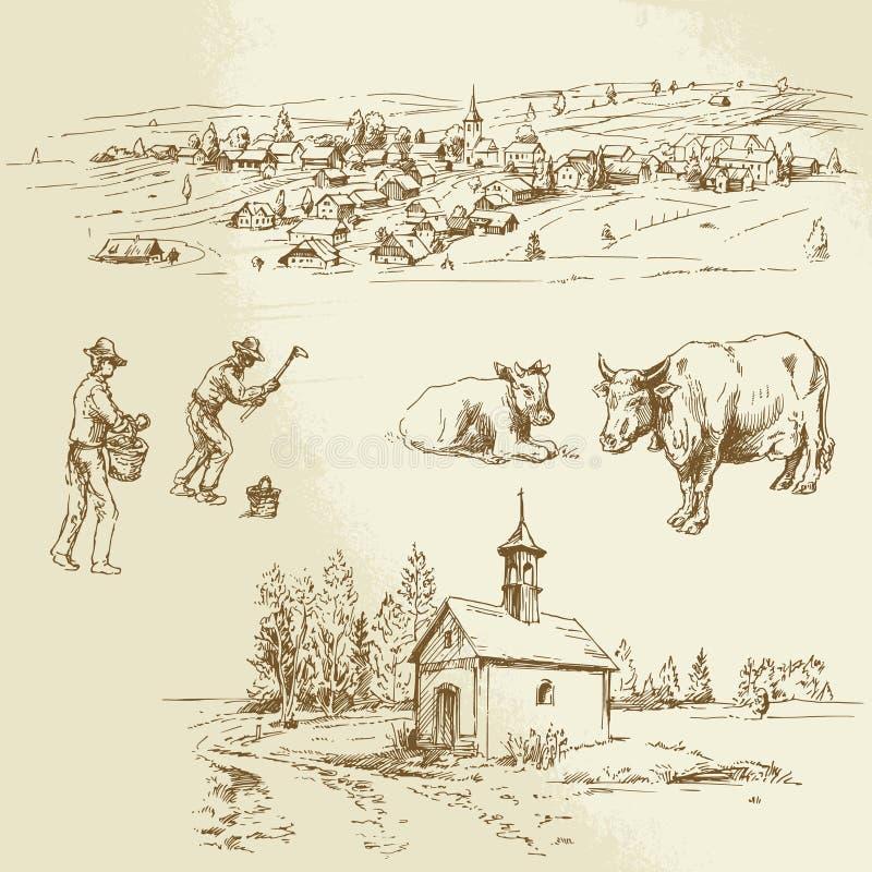 Ländliches Dorf, Landwirtschaft vektor abbildung
