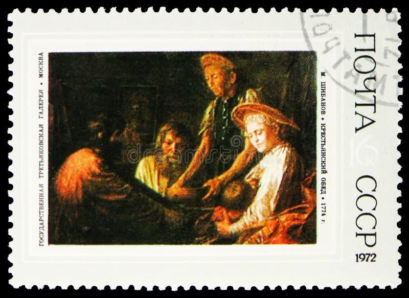 Ländliches Mittagessen, 1774, M Shibanov, russische Malereien - serie 1972, circa 1972 lizenzfreie stockfotos