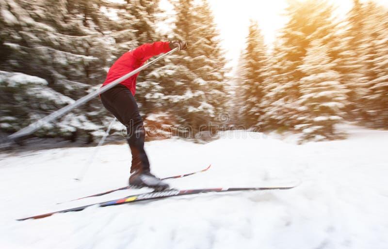 Längdlöpning skida vintern för snowsportspår arkivbilder