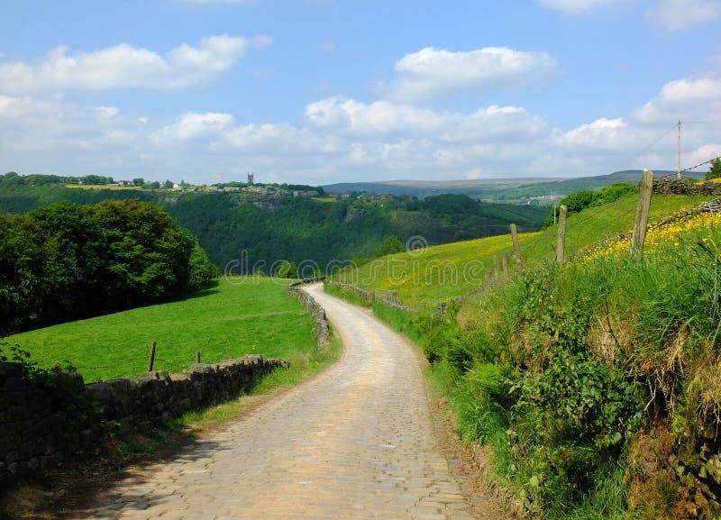 Länge buktat lappat köra för stenstenväg som är sluttande i härlig yorkshire dalbygd med gröna sommarängar royaltyfri fotografi