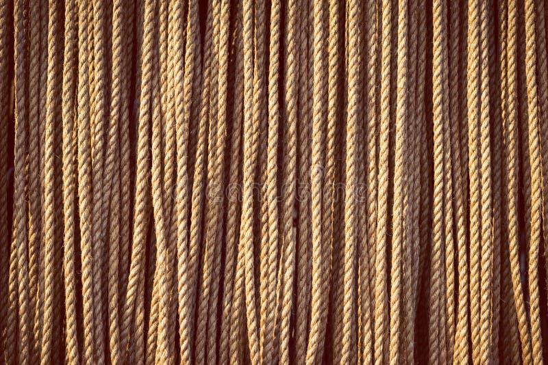 Längen des schweren natürlichen Seils, das vertikal hängt lizenzfreies stockbild