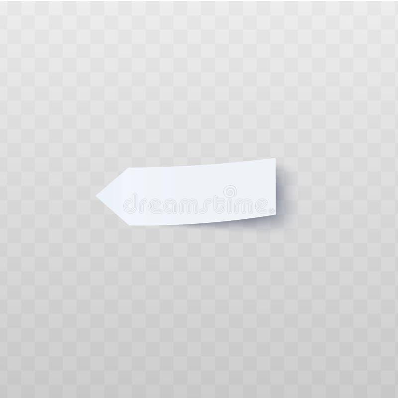 Länglicher weißer Pfeil-förmiger Aufkleber mit abgezogener realistischer Art des Randes stock abbildung