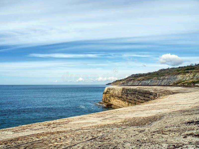 Längs den Cobb väggen - Lyme Regis fotografering för bildbyråer