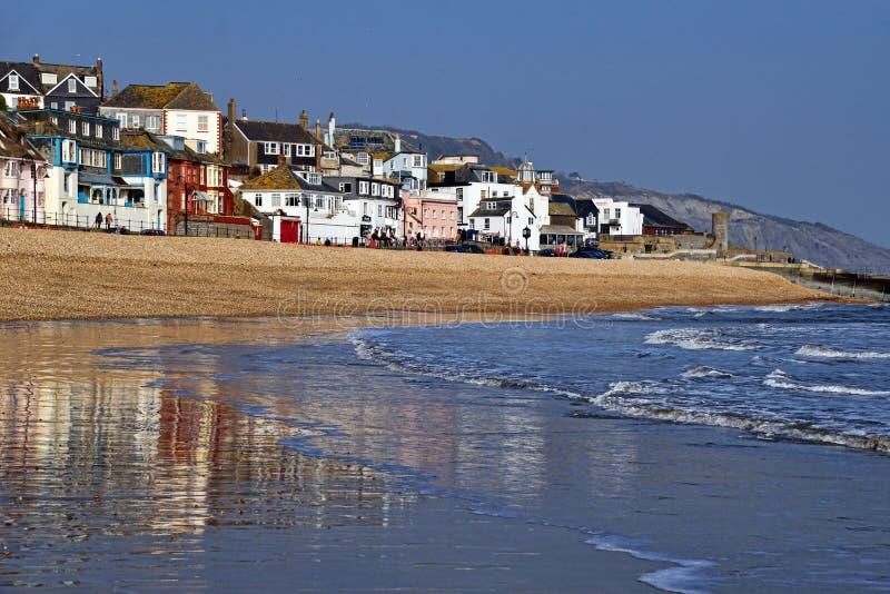 Längs stranden ~ Lyme Regis royaltyfri bild