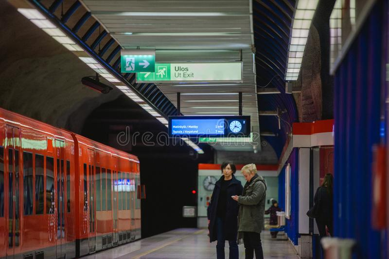 Länsimetro starts operating royalty free stock images