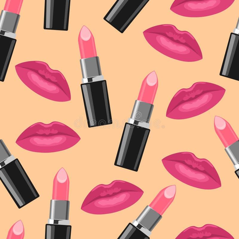 Läppstift och sömlös modell för rosa kyssmode royaltyfri illustrationer