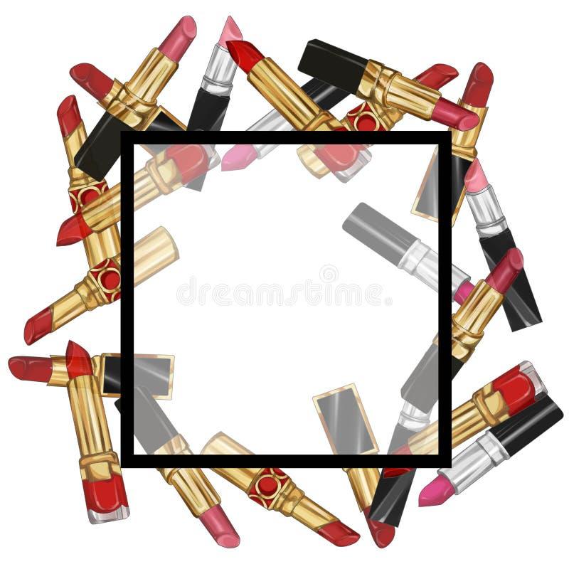 Läppstiftramillustration stock illustrationer