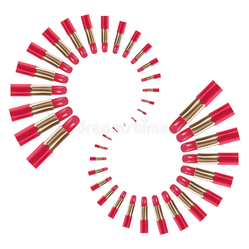 Läppstiftrosa färgfärg ordnar den spiral typuppsättningen stock illustrationer