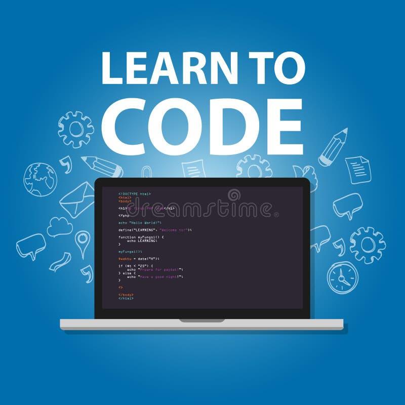 Lär att kodifiera att programmera utbildning för språkstudieövning vektor illustrationer