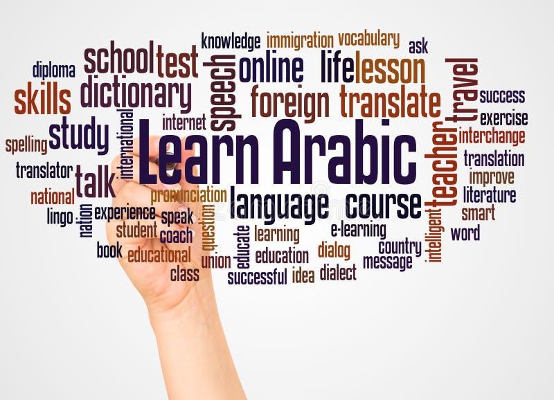 Lär det arabiska ordmolnet och handen med markörbegrepp arkivbild