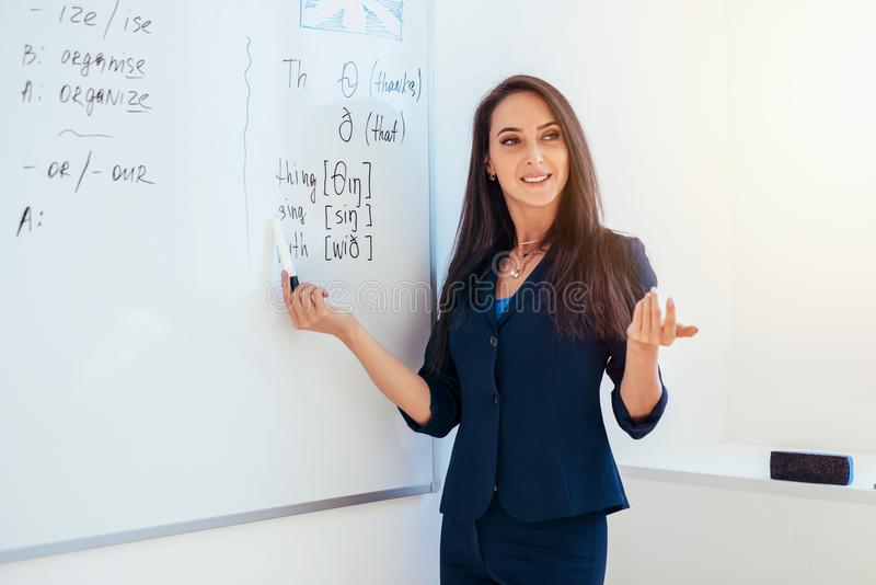 Lär det engelska språket Läraren nära whiteboard förklarar reglerna arkivbilder