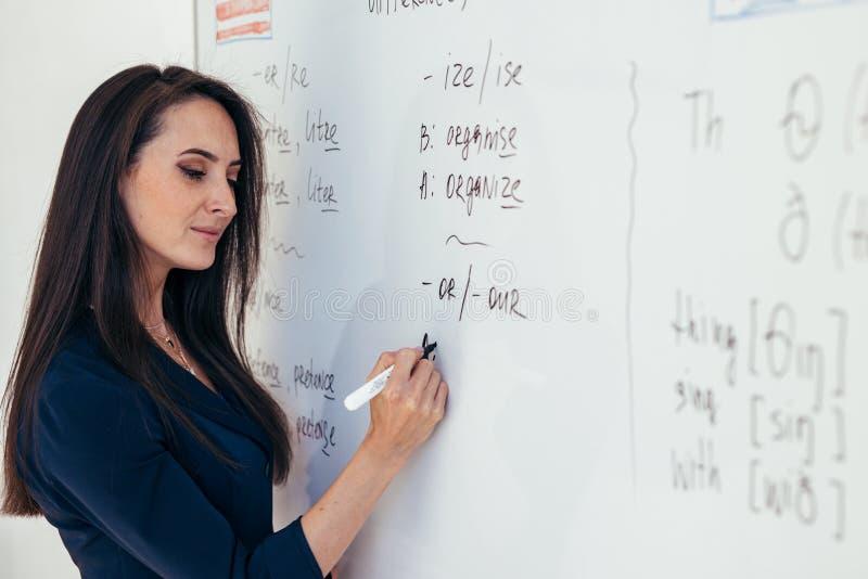 Lär det engelska språket Läraren nära whiteboard förklarar reglerna royaltyfri foto