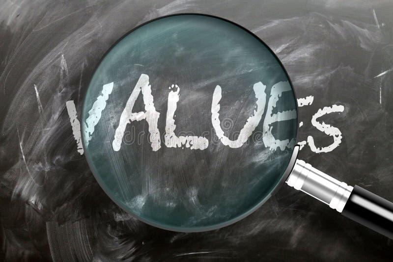 Lär dig, studera och inspektera värden - uppfattas som förstorande värden för ord som förstorar glas, symboliserar forskning, utf royaltyfria foton
