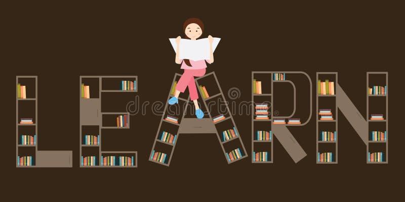 Lär flickan för bokhyllan som överst läser stock illustrationer